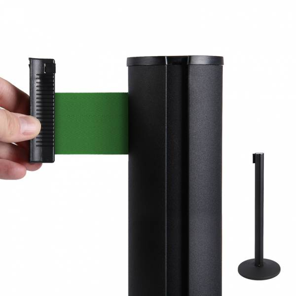 Black Retractable Barrier With 2,7 m Green Belt