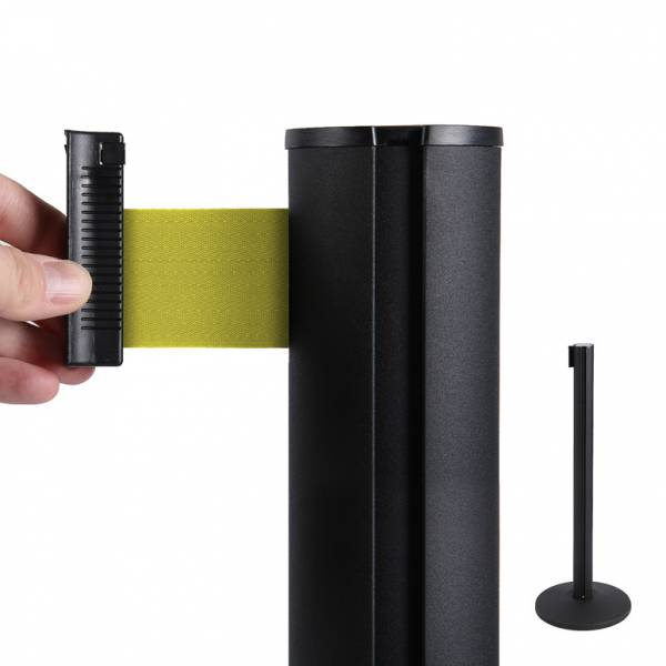 Black Retractable Barrier With 2,7 m Yellow Belt