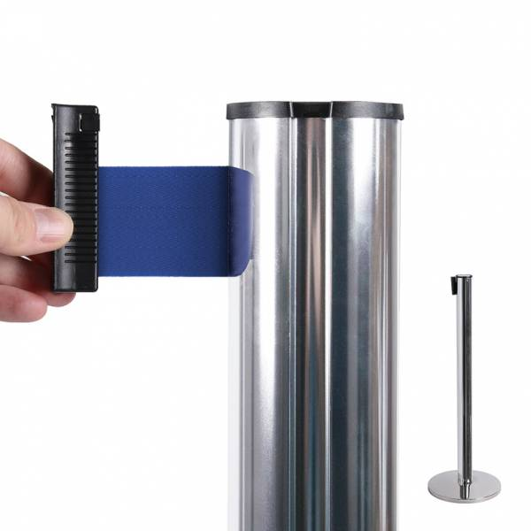 Chrome Barrier Flexi Belt Post With 2,7 m Blue Belt