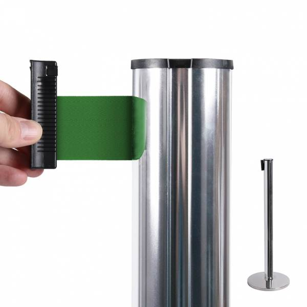 Chrome Retractable Barrier With 2,7 m Green Belt