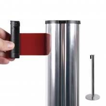Chrome Retractable Barrier With 2,7m Red Belt