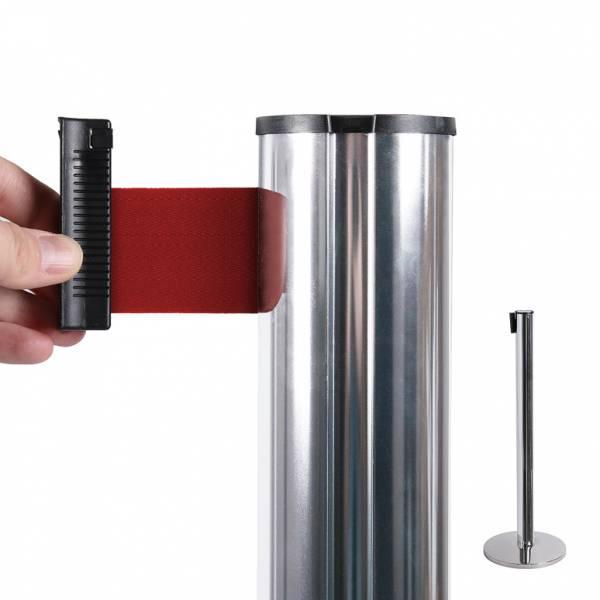 Chrome Barrier Flexi Belt Post With 2,7 m Red Belt