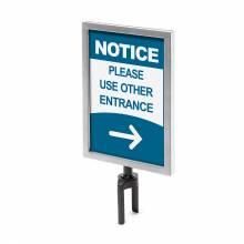 Chrome Barrier Flexi Belt Post Sign Holder A4