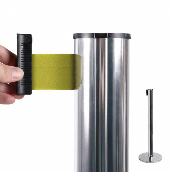 Chrome Retractable Barrier With 2m Yellow Belt