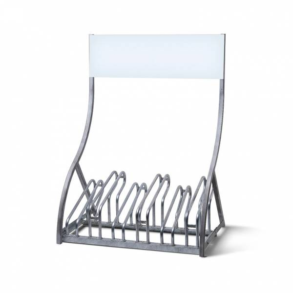 Bike Rack with Branding Panel Header - for up to 6 bikes