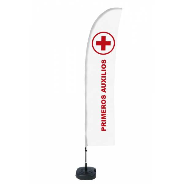 Beach Flag Budget Wind Complete Set First Aid Spanish