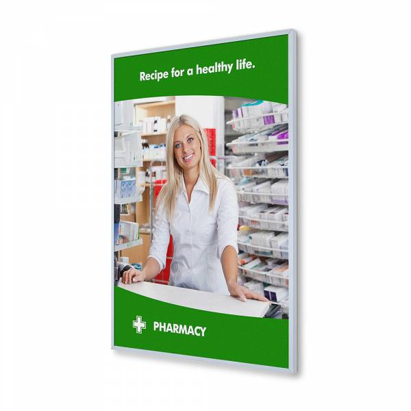 8mm wide Insert Wall Poster Frame with slide in print A2