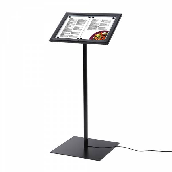 Black Lockable Menu Stand LED Illuminated 2x A4