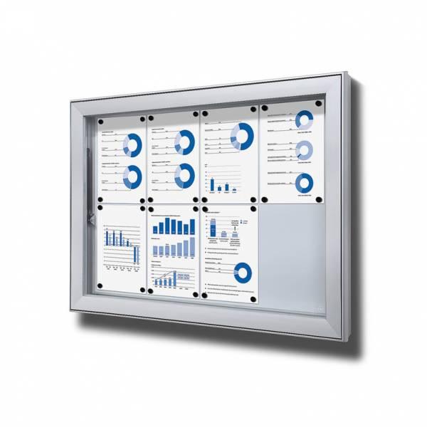 Premium Extra Deep Outdoor Lockable Noticeboard Dry Wipe Panel 8xA4