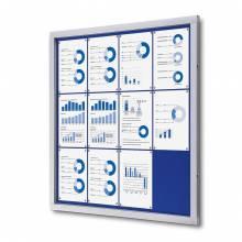 Felt Lockable Notice Board Blue 12x A4