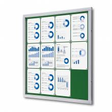 Felt Lockable Notice Board Green 12x A4