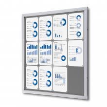 Felt Lockable Notice Board Grey 12x A4