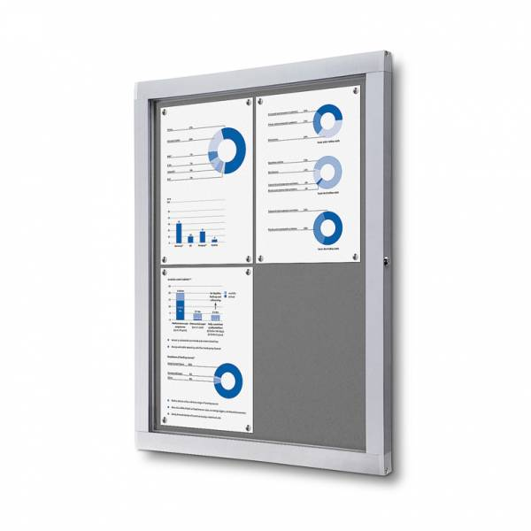 Lockable Notice Board SCOF, GREY, 4xA4