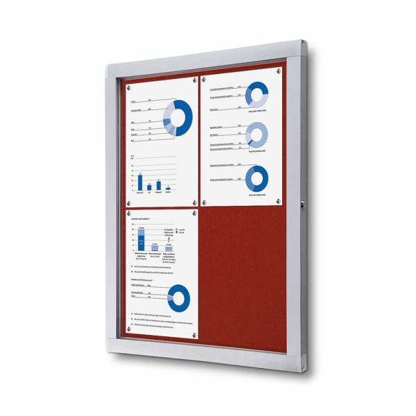 Lockable Notice Board SCOF, RED, 4xA4