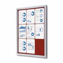 Felt Lockable Notice Board Red 9x A4