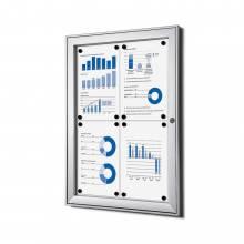 Indoor Lockable Showcase Silver 4x A4