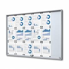 Indoor Lockable Showcase With Sliding Doors Slim 18x A4