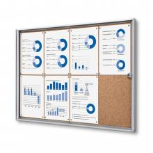 8xA4 Indoor Lockable Cork Noticeboard