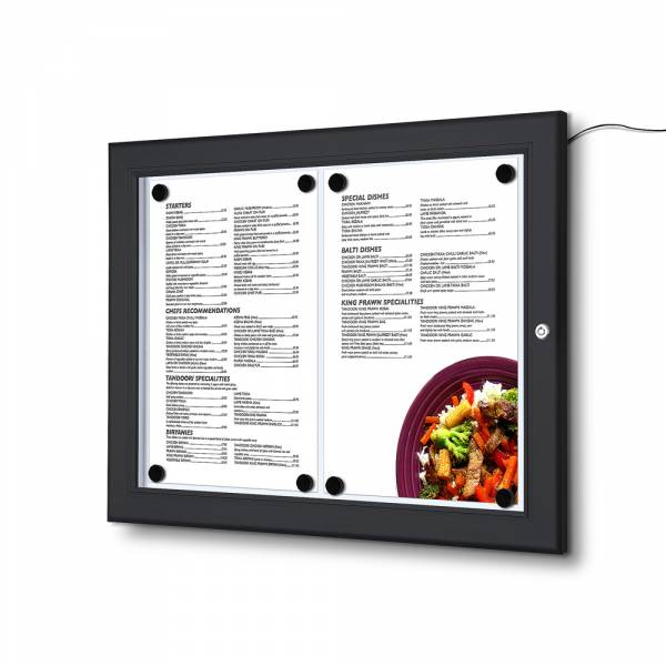 2xA4 LED Menu Display Case BLACK