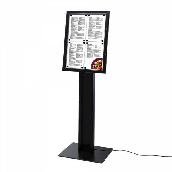 Black Freestanding Menu Pole LED Illuminated 4x A4