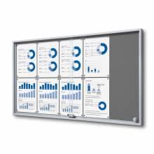 Indoor Lockable Notice Board Felt With Sliding Doors Slim