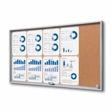 Cork Indoor Lockable Noticeboard with Sliding Doors SLIM